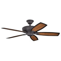 "Monarch II 52"" Ceiling Fan Distressed Black, Umber Alabaster Glass, Walnut Blade"