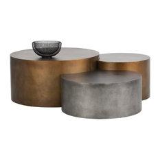 Brass n Nickel 3-Piece Coffee Tables Set