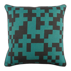 Modern Cotton Black and Teal Accent Pillow, 18  x18