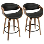 LumiSource - Symphony Mid-Century Modern Counter Stool, Set of 2, Black - Symphony Mid-Century Modern Counter Stool in Walnut and Black Faux Leather by LumiSource - Set of 2