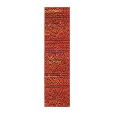 "Crete Tribal Orange and Red Rug, 2'7""x10'"