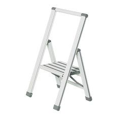 Folding Aluminium Step Ladder, White, 1 Step