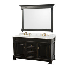 "Andover 60"" Vanity White Sinks 56"" Mirror Antique Black White Carrera Marble"