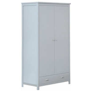 Traditional Wardrobe, Grey Solid Pine MDF With 2-Door and 2-Compartment