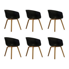 Danish Style Dining Arm Chair, Natural Legs, Black, Set of 6, Black