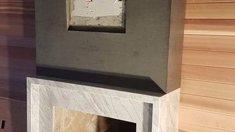 fireplace marble with quartz