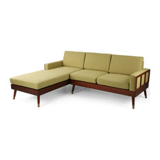 Michelle 3 Seater Sectional Sofa Set With Chaise Lounge Chartreuse/Walnut