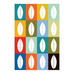 Midcentury Minimalist Leaves Print, A4