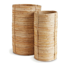 Cane Rattan Tall Cylinders Set/2