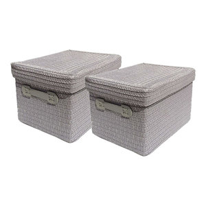 Set of 2 Medium Storage Baskets WIth Lid, Contemporary Design, Grey