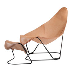 Cuero Design - Cuero Design Abrazo Chair, Natural Leather, Footrest Included - Armchairs & Accent Chairs