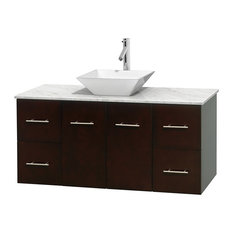 "48"" Single Bathroom Vanity in Espresso, White Carrera Marble Countertop, Sink"