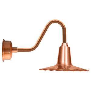 "12"" Iris LED Gooseneck Light With Vintage Arm, Solid Copper"