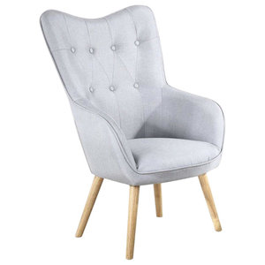 Modern Soft Fabric Accent Chair, Buttoned Back and Wooden Legs, Light Grey