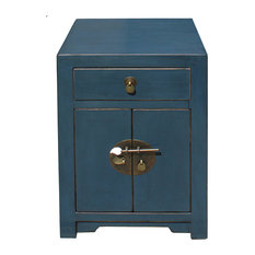 Golden Lotus Antiques - Oriental Distressed Dark Teal Blue Lacquer Side End Table Nightstand Hcs4164 - Nightstands and Bedside Tables