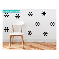 Flower Fabric Wall Decals, Set of 9 Flowers, Black