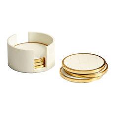 Cyan Gatsby Coasters 09792, Brass and White