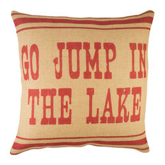"""""""Go Jump in the Lake"""" Burlap Pillow, Red"""