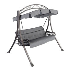 CorLiving PNT-805-S Patio Swing, Arched Canopy, Textured Gray