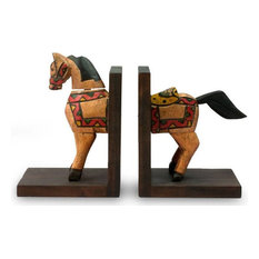 Novica Little Horse of Knowledge Pinewood Bookends, Set of 2