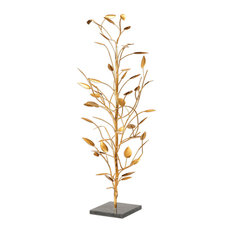 Modern Minimalist Gold Tree Sculpture, Mid Century Branches Leaves Metal Marble