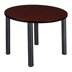 Kee 36-inch Round Breakroom Table Mahogany/Black