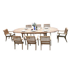"Teak Deals - 9-Piece Outdoor Teak Dining Set, 117"" Oval Table, 8 Arbor Stacking Arm Chairs - Outdoor Dining Sets"
