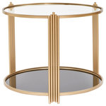 Statements by J - Sydney Round End Table - 2 tiers round  side table brings the glam and practicality yo your space.