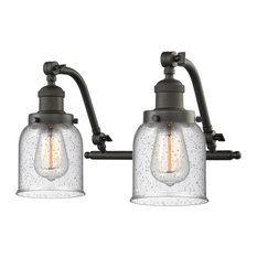Small Bell 2-Light Bath Fixture, Seedy Glass, Oil Rubbed Bronze, LED