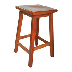Mission Wooden Bar Stool Solid Cherry Wood Washington Cherry Stain 24-inch