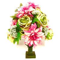 Spring All Season Pink and Green Silk Floral Arrangement Centerpiece Sage Green