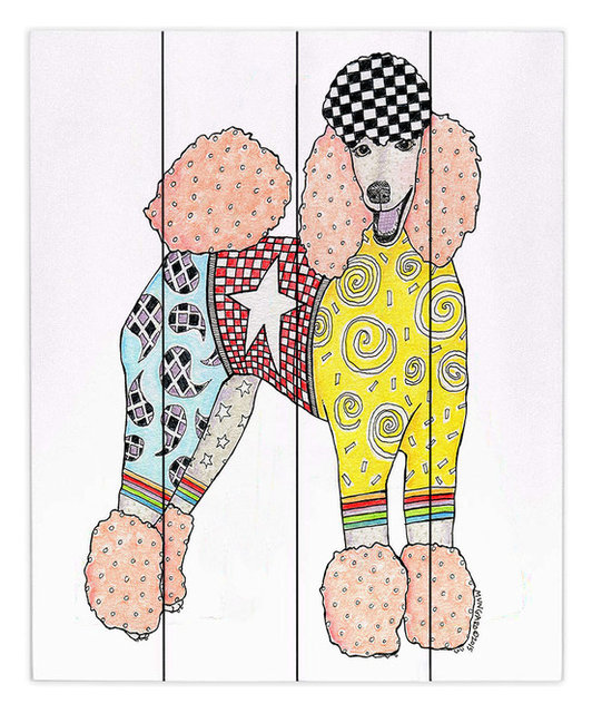 DiaNoche Wood Plank Wall Art by Marley Ungaro - Poodle White ...