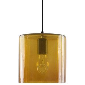 Rounded Glass Cylinder Pendant Light, Honey