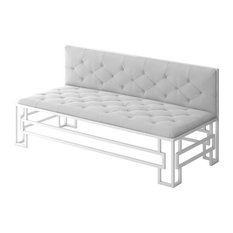 Designer Modern Home   Alice Modern Sofa With White Metal Frame And White  Fabric Seat