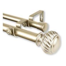 "Cruller 1"" Double Curtain Rod, Black, Light Gold, 120""-170"""