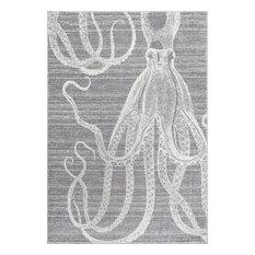 "Novelty Octopus, Gray, 7'6""x9'6"""