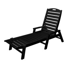 POLYWOOD Nautical Chaise with Arms in Black