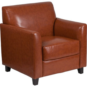 Radisson Cognac Leather Office Chair With Flared Arms