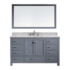 "Caroline Avenue 60"" Single Bathroom Vanity, Gray with Marble Top,"