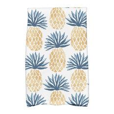 "16""x25"" Pineapple Stripes, Geometric Print Kitchen Towel, Blue"