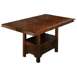 Cute Contemporary Dining Tables Counter Height Butterfly Leaf Table in Saddle Brown Oak Finish