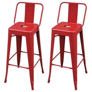 VidaXL Bar Chairs, Red, Square, Set of 2