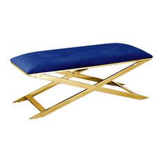 Accent Bench, Gold Plated, Blue Velvet