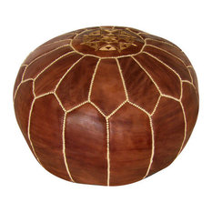Moroccan Leather Stuffed Pouf, Brown