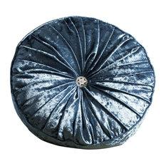 Loire Round Velvet Scatter Cushion, Teal