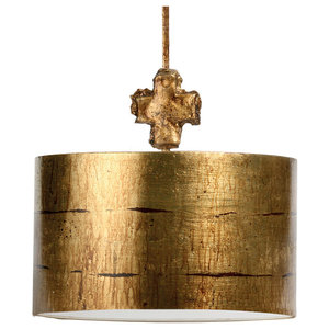Large Single Light Decorative Pendant, Aged Gold