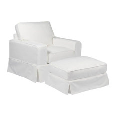 Chair and Ottoman Slipcover Set in Performance White