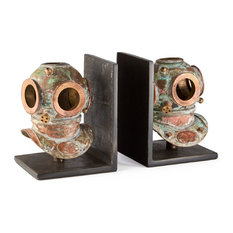 Luxe Retro Deep Sea Diver Bookends, Diving Coastal Nautical Brass Helmet Scuba