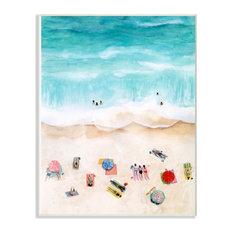 Beach Family Coast Ocean Blue Watercolor Painting Wall Art (12 in. W x 18 in. H