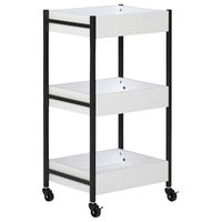 Offex Home Office 3 Bin Rolling Storage Cart, Charcoal/White